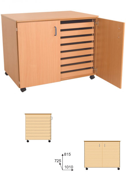 A1 Paper Storage Unit- 8 Drawers With Doors-0