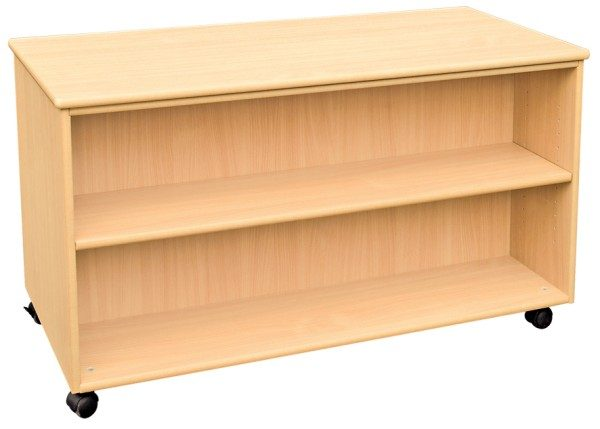 Mobile Double Sided Shelf Unit with Four Shelves-0