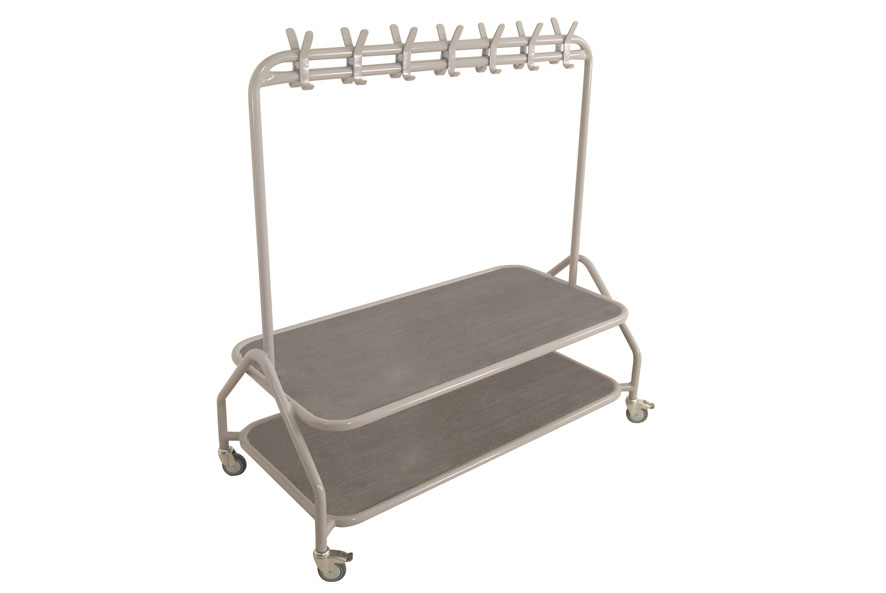 Metal Cloakroom Trolley with Seat-0