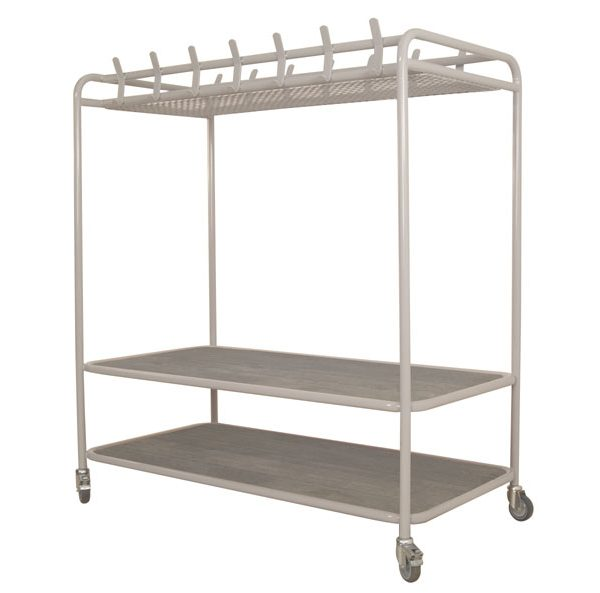 Metal Cloakroom Trolley with Seat & Overhead Shelf-0