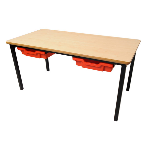 Rectangular Table with Tray Storage